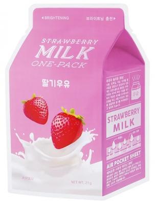 Тканевая маска молочная с клубникой A'PIEU Strawberry Milk One-Pack 21г: фото