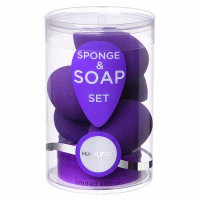 Набор бьюти спонжей плюс мыло для очистки спонжей Manly PRO СП20 5шт: фото