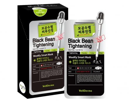 Набор тканевых масок с экстрактом черных бобов для сужения пор WELLDERMA Black Bean Tightening Weekly Smart Mask 25мл*10шт: фото
